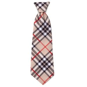 The Worthy Dog Bias Plaid Plain Tan Dog Neck Tie